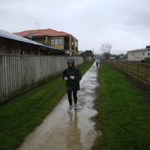 Mud and rain. A short off-road section at around the halfway mark. Is that a Teletubby en route?