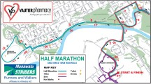 The course map for the 5km, 10km and 21.1km.
