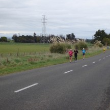 Runners stretched out along Tutaenui Road.