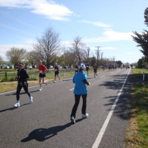 The short out-and-back section at the start of the race.