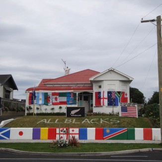 One supporter going the whole nine yards, in Wanganui. When we first passed, a whole lot op people were outside partying. They also had a van painted to match the house.