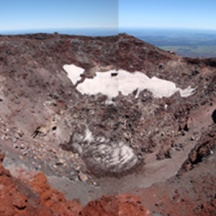 The top of Mt Ngauruhoe. This patchwork of photos doesn't really show the enormity of the crater.