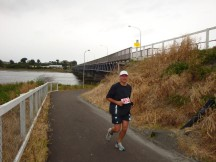 Gerry at the on-ramp of the Cobham Bridge.