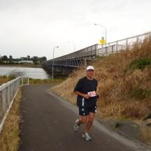 Gerry at the on-ramp of the Cobham Bridge.