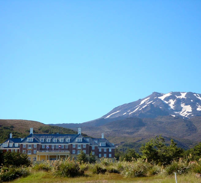 Chateau Tongariro with Mt Ruapehu in the back.