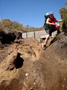 The eroded paths require some acrobatic hiking!