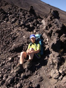 Taking a break next to a lava sculpture.