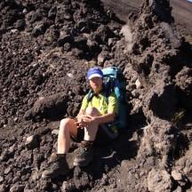 Taking a break next to a lava sculpture.