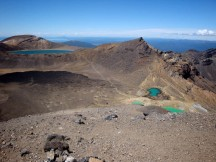 On top of Red Crater. Blue Lake in the distance with Central Crater to the left and the Emerald Lakes on the right.