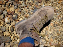 Dusty old shoes - took quite a beating skidding down the slope.