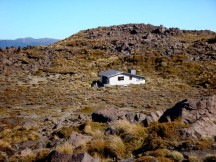 Oturere hut with the tented area to the left.