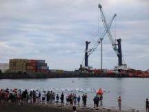 The start of the Wells Half Ironman swim in the Taranaki port.