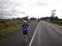 Runners scattered along the country roads.