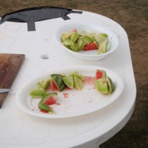 Melon and watermelon at the finish.