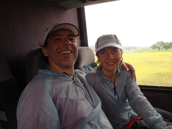 Gerry and I in the bus at the finish, happy to have survived the ordeal! ;-)