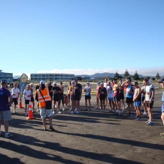 The participants at the start of the 21.1km beach run.