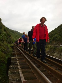 Gerry concentrating hard on another train bridge without railings.