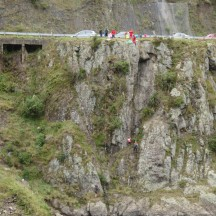 Abseilers as seen from the train track side.