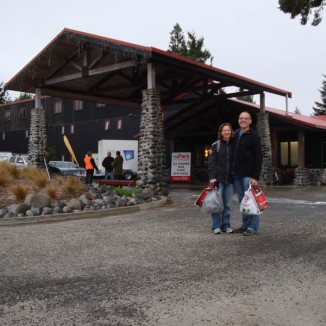 Gerry and I on Friday afternoon at the race headquarters - The Park Travellers' Lodge - just after registration and gear check. Nervously brave.