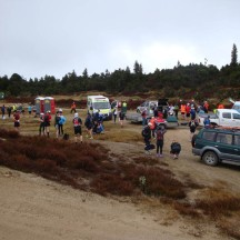 At the start, with a long queue at the porta-loos on the left.