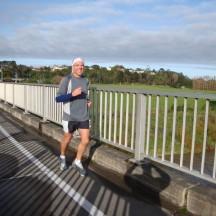 Gerry, flying over the Manawatu River bridge on Fitzherbert Avenue.
