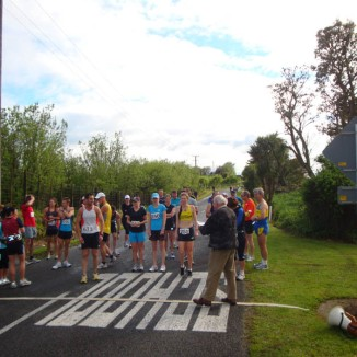 At the start. About 30 participants in the half marathon run. Almost clear skies after a very rainy morning.