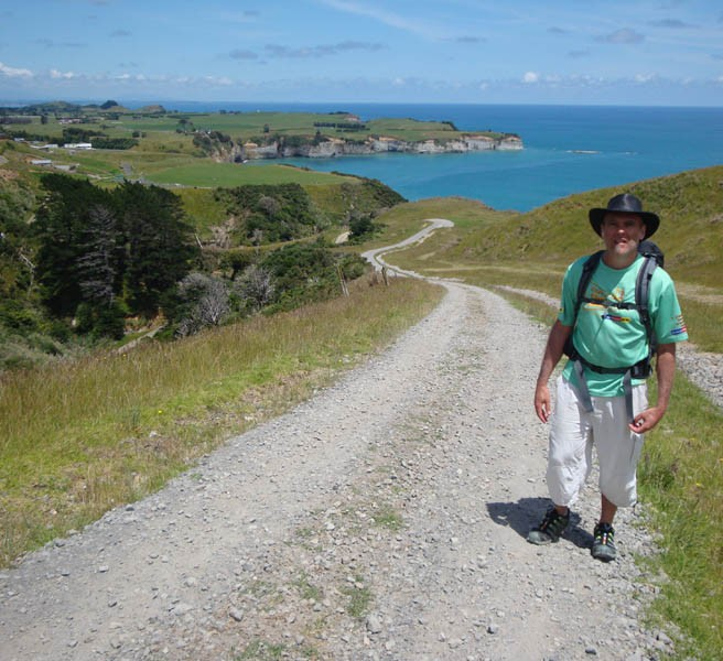 Gerry in the blazing hot sun, making his way up the steep climb on private farm roads.