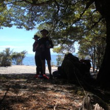 """Lake Te Anau in the back. We stopped for a quick lunch in the shade - hence the """"shady"""" photo."""