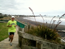 Gerry rounding a corner on the last stretch of our rave run.