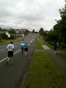 Runners making their way up Parklands Avenue.