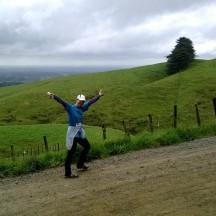 In high spirits, despite the challenging hills.
