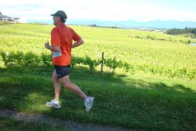 Gerry flying past the vineyard on his way to the finish.