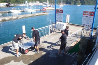 At the jetty in Picton, boarding the Beachcombers water taxi.