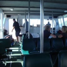 Inside the Beachcomber cruiser, with free coffee and tea.