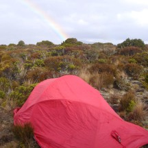 A rainbow in the late afternoon while we were cosy inside the tent.