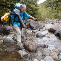 Stream crossings became more challenging as the tramp continued.