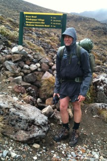Gerry at the turn off to the Whakapapaiti Hut, or straight to Bruce Road. Not the happiest camper anymore. :-)