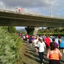 Runners getting moral support from atop the Manawatu bridge.
