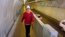 Our walk through Mt Victoria Tunnel on the way back to the start, some 4km from the finish.