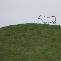 A beautiful wire sculpture on one of the farm hills.