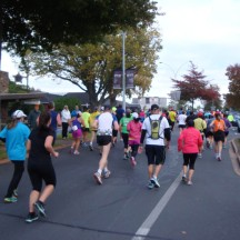 Lots of runners making their way through town.