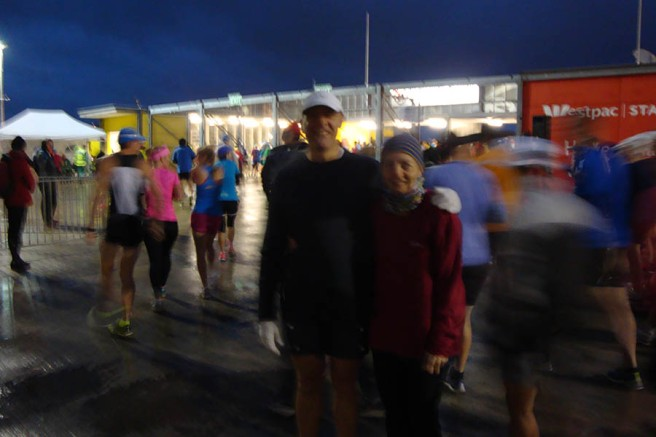 Still fairly dark (and cold!) outside at the start of the marathon.