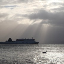 Beautiful rays of sunlight shining on the ferry for a brief moment.