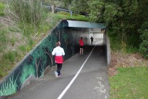 Sticking to the walkway, the course passes through a couple of tunnels under the roads.