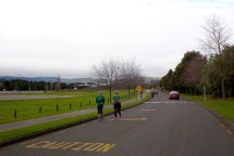 Striders on the out-and-back section next to the sports ground on Massey campus.