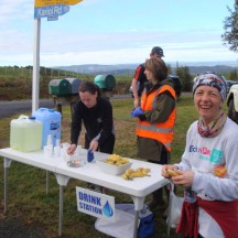 Transition point and drinks table at about 15km into the race.