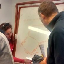 Lisa explaining the route.