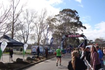 The finish line at the Massey Rec site with Gerry approaching the finish banner. [Photo by Johann vd Merwe]