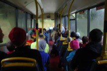 In the bus on our way to the Tora Coastal Challenge.