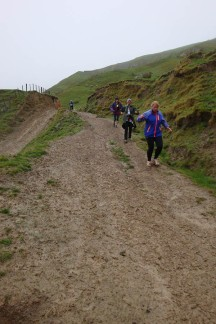 Slippery terrain made going downhill as slow as going up.